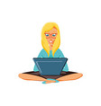 woman sitting with laptop computer vector image vector image