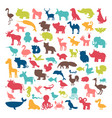 big set of animals silhouettes in cartoon style vector image