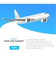 White Jet Airplane in the Air Banner vector image