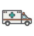 ambulance filled outline icon medicine vector image vector image