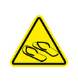 attention slippers caution beach shoes yellow vector image vector image