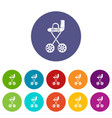 baby carriage yellow icons set color vector image vector image