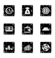 Bank icons set grunge style vector image