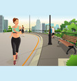 beautiful woman running in a park in the city vector image