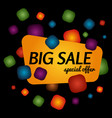 big sale special offer banner on black background vector image