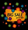 big sale special offer banner on black background vector image vector image