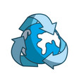 blue earth planet inside of recycling symbol vector image vector image