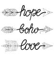 boho love hope arrows hand drawn signs vector image