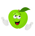 cartoon apple character giving thumbs up vector image