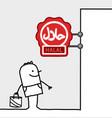 cartoon consumer shop sign - halal vector image