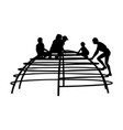 children playing at playground climber silhouette vector image vector image
