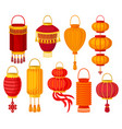 chinese paper street lantern of different shapes vector image