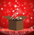 christmas gift box with light red background vector image vector image