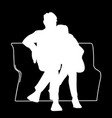 couple sitting on a bench stencil
