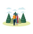 couple with winter clothes and winter pines avatar vector image vector image