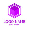 cube 3d logotype of violet color vector image vector image