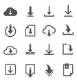downloads files line and bold icons set isolated vector image