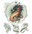 Dragons and ribbons - set Stock vector image vector image