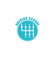 Driving school logo six gearshift knob blue emblem vector image vector image