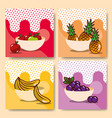 fruits bowls set fresh delicious dieting healthy vector image vector image
