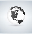 globe icon with smooth shadows and black map of vector image vector image