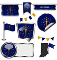 Glossy icons with Indiana flag vector image