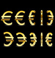 gold sign euro on black background vector image vector image