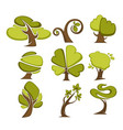 green trees and tree leaf icons or logo templates vector image vector image