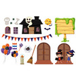 halloween elements with haunted house and kids vector image