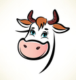 happy cow portrait outlined symbol vector image vector image