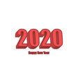 happy new year 2020 red isometry 3d text vector image