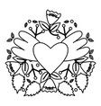 heart love with wings and roses pop art style vector image