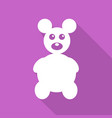 icon teddy bear toy on long shadow vector image vector image