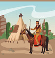 indian riding horse at village vector image vector image