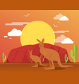 kangaroo in desert and mountain for traveling vector image
