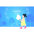 little girl eating candy-floss cute child walking vector image