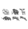 mammoth or extinct elephant woolly rhinoceros vector image vector image
