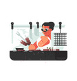 man cooking barbecue on grill vector image