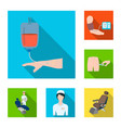 medicine and treatment flat icons in set vector image