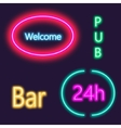Neon lightning signboard Bar welcome pub White vector image