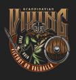 old norse viking vintage label vector image vector image