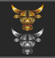 ox head logo made gold and silver gradient vector image vector image