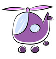 purple helicopter on white background vector image