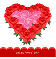 Red roses in heart shape card romantic