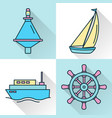 sea collection ship and nautical icons in line vector image vector image