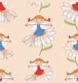 seamless pattern of elves girls sitting on the vector image vector image