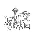 seattle city downtown skyline with space needle vector image