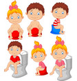 set of cute little babies sitting on the potty vector image vector image