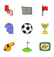 Soccer icons set cartoon style