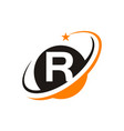 star swoosh letter r vector image vector image